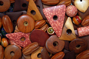 drilled holes in wooden beads