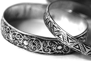 etched silver bracelets