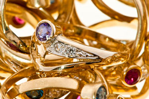 gold rings with gemstones