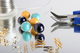jewelry beads, wire, pliers