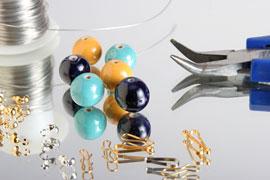 jewelry beads, wire, pliers