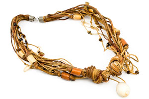 necklace with leather strips and a seashell