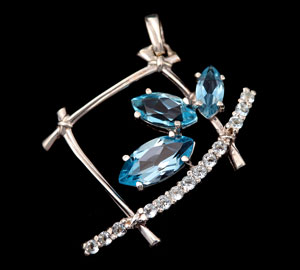platinum pendant with gemstones
