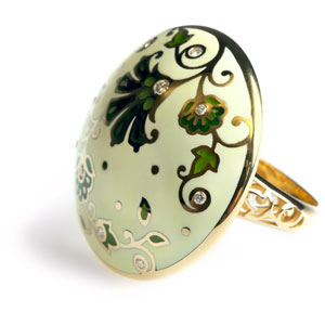 ring with enamel and diamonds