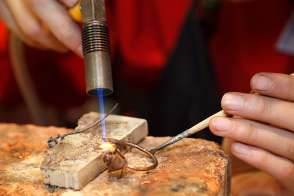 soldering jewelry with a soldering torch