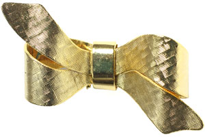 textured gold bow pin